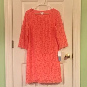 NWT Lace Cocktail Dress in Bright Coral